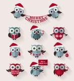 圣诞节猫头鹰 平的象 动画片重点极性集向量 免版税库存照片