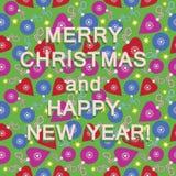 圣诞节玩具和祝贺 免版税库存图片