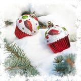 圣诞节玩具在冬天树和雪结块 库存照片