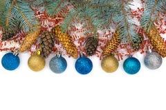 圣诞节玩具在白色背景被隔绝 免版税库存图片