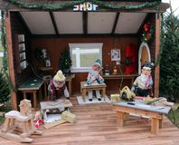 圣诞节玩具车间 免版税库存图片