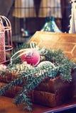 圣诞节玩具,圣诞节球的构成 免版税图库摄影