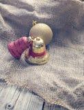 圣诞节球为在布料装饰 库存图片