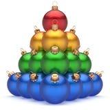 圣诞节球五颜六色的金字塔高级红色领导第一个位置优胜者 库存例证