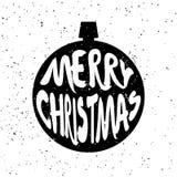 圣诞节球剪影与字法文本圣诞快乐的在白色背景与飞溅 库存图片