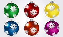 圣诞节球向量集 免版税库存图片