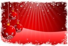 圣诞节球和红色抽象背景 光栅 图库摄影