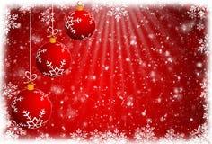 圣诞节球和红色抽象背景 免版税库存图片