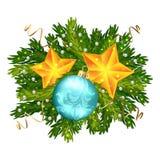 圣诞节球和被隔绝的星装饰 库存照片