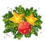 圣诞节球和被隔绝的星装饰 图库摄影