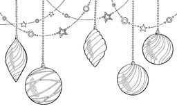圣诞节球图表新年剪影背景例证 免版税库存照片