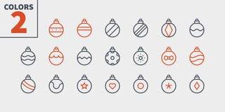 圣诞节球映象点完善的象认真草拟的传染媒介稀薄的线象48x48准备好24x24网图表的栅格和 皇族释放例证