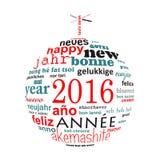 2016以圣诞节球的形式新年多语种文本词云彩贺卡 免版税库存照片