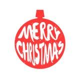 圣诞节球红色剪影与字法文本圣诞快乐的 免版税库存图片