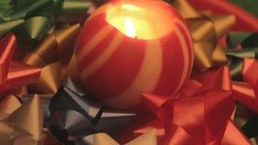 圣诞节球蜡烛和弓3 股票视频