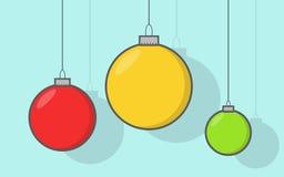 圣诞节球设置与减速火箭的颜色 免版税库存图片