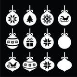 圣诞节球,在黑色的圣诞节中看不中用的物品白色象 免版税库存图片