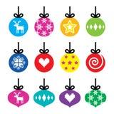 圣诞节球,被设置的圣诞节中看不中用的物品五颜六色的象 免版税库存照片