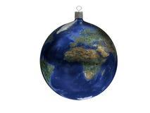 圣诞节球-地球 免版税图库摄影