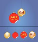 圣诞节球-销售额贴纸 免版税图库摄影