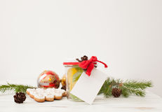 圣诞节甜点在礼物的一个瓶子包装了 安置文本 库存照片
