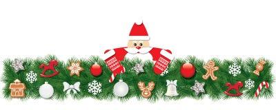 圣诞节用圣诞老人项目装饰的冷杉边界 免版税库存照片