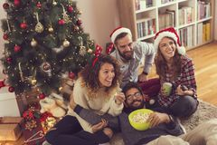 圣诞节电影天和乐趣 库存照片