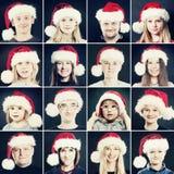 圣诞节男人、妇女和孩子圣诞老人帽子的 Chri画象  免版税库存图片