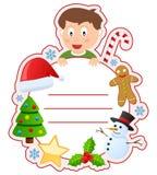 圣诞节男孩书套框架 库存照片