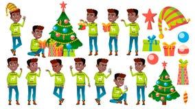 圣诞节男孩摆在集合传染媒介 投反对票 美国黑人 新年度 活跃逗人喜爱的孩子 对网,小册子,海报设计 库存例证