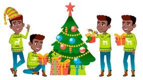 圣诞节男孩集合传染媒介 投反对票 美国黑人 新年度 对明信片,盖子,招贴设计 被隔绝的动画片 向量例证