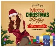 圣诞节白色背景的画报女孩 古色古香的可收帐的邮件对象明信片相关葡萄酒 也corel凹道例证向量 库存例证