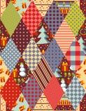 圣诞节的五颜六色的无缝的补缀品样式 免版税库存照片