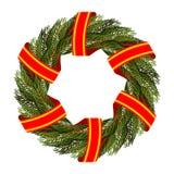 圣诞节的传统绿色花圈 圣诞树分行 库存照片