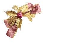 圣诞节的发光的桃红色和金丝带 免版税库存图片