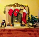 圣诞节的壁炉 库存图片