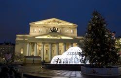 圣诞节的大剧院,莫斯科 免版税库存图片