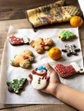 圣诞节的姜饼曲奇饼 免版税库存照片