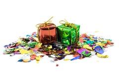 圣诞节的小礼物盒 免版税库存图片