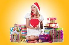 圣诞节的少妇 免版税库存图片