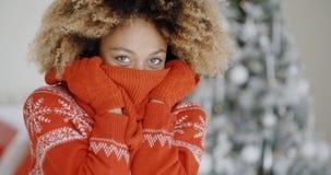 圣诞节的时兴的少妇 免版税库存图片