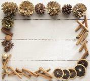 圣诞节的木制框架 免版税库存照片