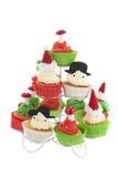 圣诞节的杯形蛋糕 免版税库存图片