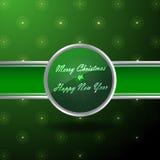 圣诞节的横幅以绿色和银 库存照片