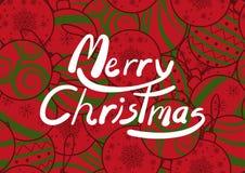 圣诞节的海报设计在简单的平的样式 在五颜六色的无缝的背景设计与各种各样的任意圣诞节装饰品 皇族释放例证