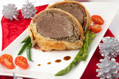 圣诞节的牛肉惠灵顿 库存图片