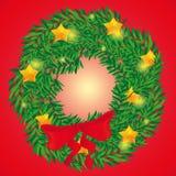 圣诞节的美丽的假日花圈在红色backgraund 免版税库存图片