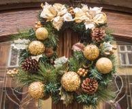 圣诞节的花圈沙拉 库存照片