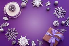 圣诞节的装饰的装饰构成 免版税库存照片