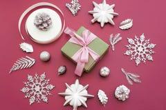 圣诞节的装饰的装饰构成 免版税库存图片
